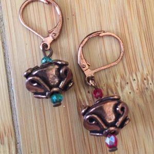 Copper ornament Xmas earrings